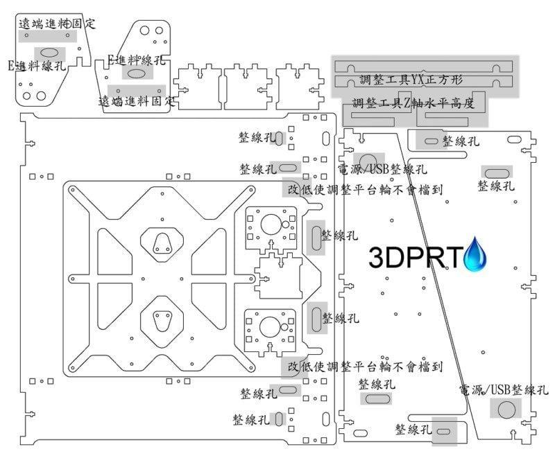 【3DPRT 專賣店】★ 361★ 現貨  足6mm Prusa i3 透明 壓克力框架 最新改版 穩固  特價中
