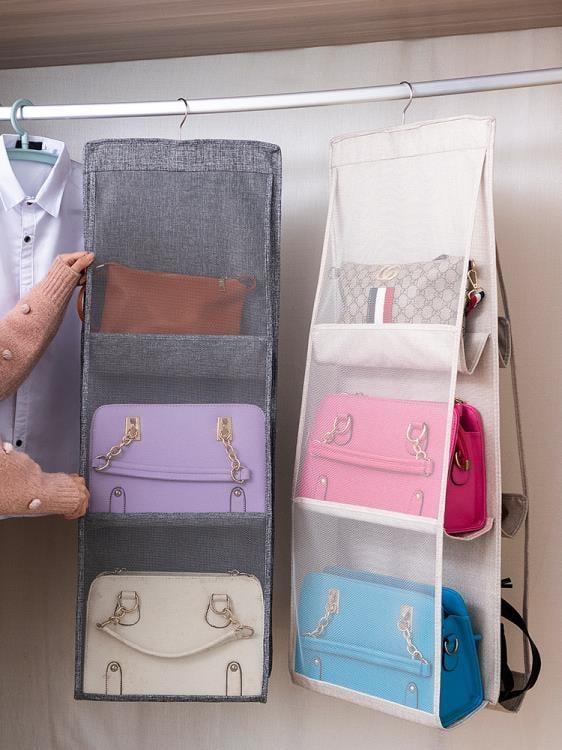 【可開發票】麻布包包收納掛袋懸掛式家用衣柜放包的收納置物袋收納架衣櫥神器—聚優購物網