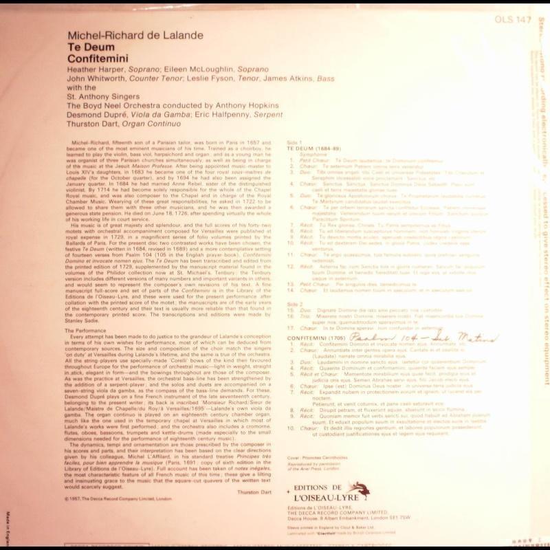英版古典-L'OISEAU-LYRE/OLS 147/拉朗迪:謝恩讚美歌等/哈波,女高,惠華德,假聲男高等/霍普金斯指揮