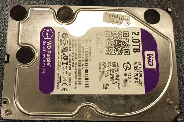 二手WD 紫標 2TB 3.5吋監控硬碟WD20PURZ(初步測試無壞軌歡迎自取
