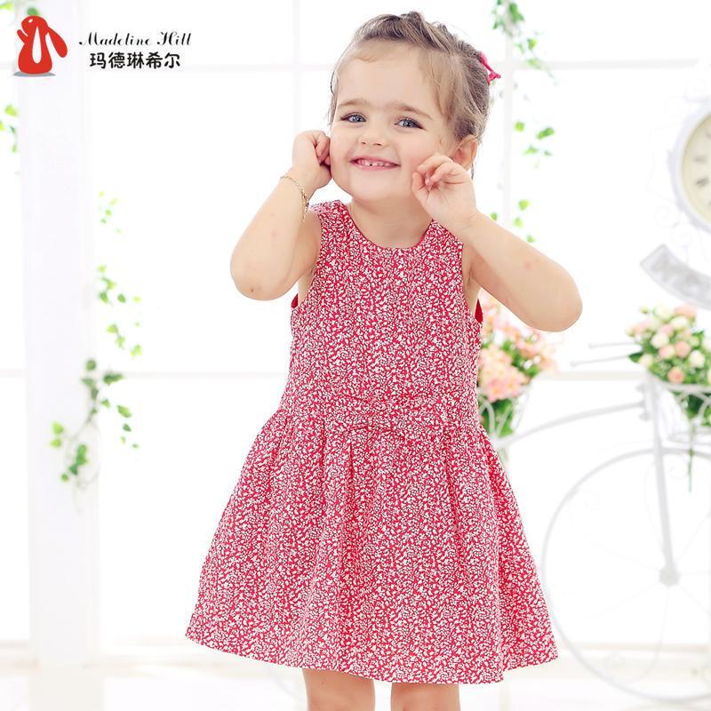 女童連衣裙夏季2016歐美童裝嬰兒寶寶純棉公主裙兒童碎花女孩裙子