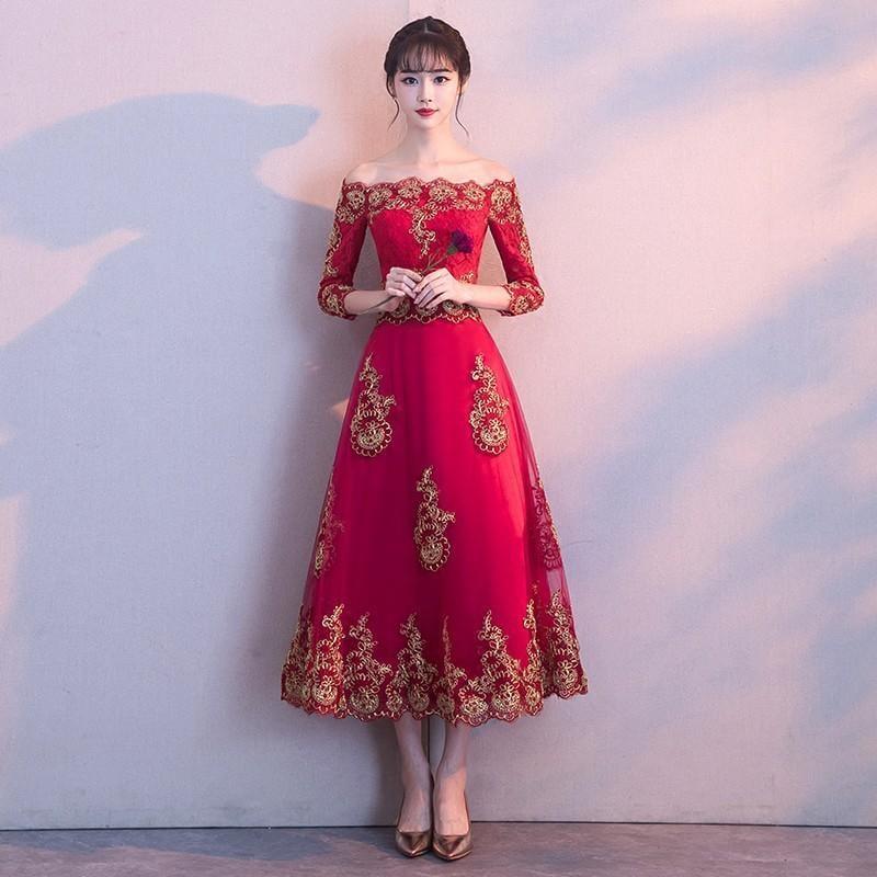一字肩新娘敬酒服2017新款紅色中式晚禮服女中國風結婚中長款冬季