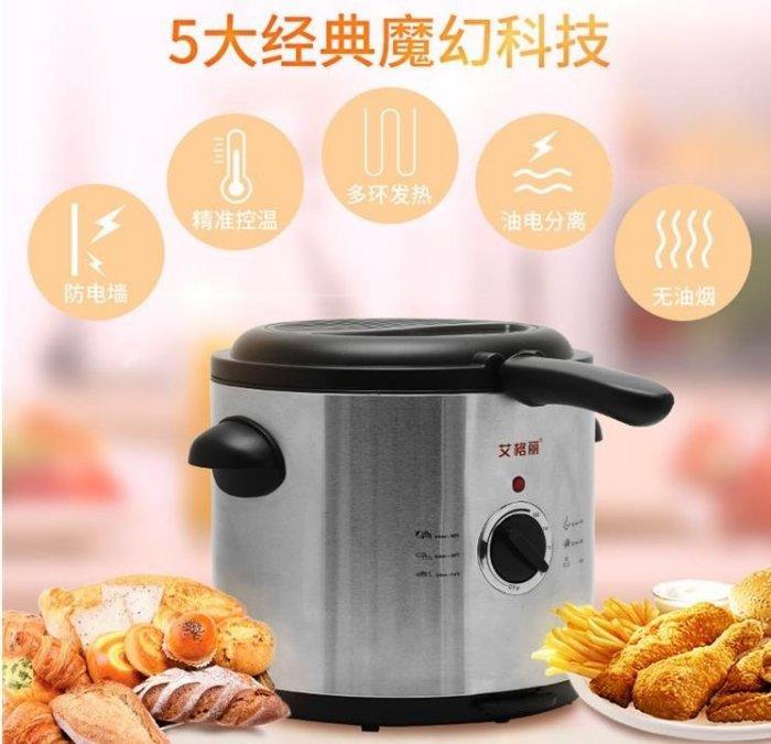 電炸鍋艾格麗電炸鍋家用電油炸鍋家用小炸鍋恒溫方形炸薯條機迷你分離式 Igo