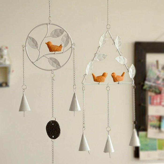 zakka創意小鳥日式手工金屬鈴鐺風鈴掛飾家居鐵藝掛件四款可選