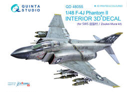 ㊣ Quinta Studio 1/48 F-4J 美軍艦載幽靈式戰鬥機 SWS造型村 3D立體浮雕水貼 QD48055