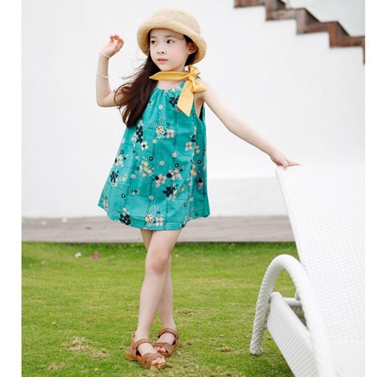 女童2016夏季海邊度假連衣裙中大童寬松韓版純棉蝴蝶結花朵公主裙