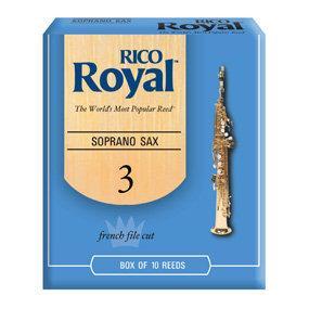 【華邑樂器27218-3】Rico Royal 高音薩克斯風竹片 3號 (10片裝 Soprano Sax 公司貨)