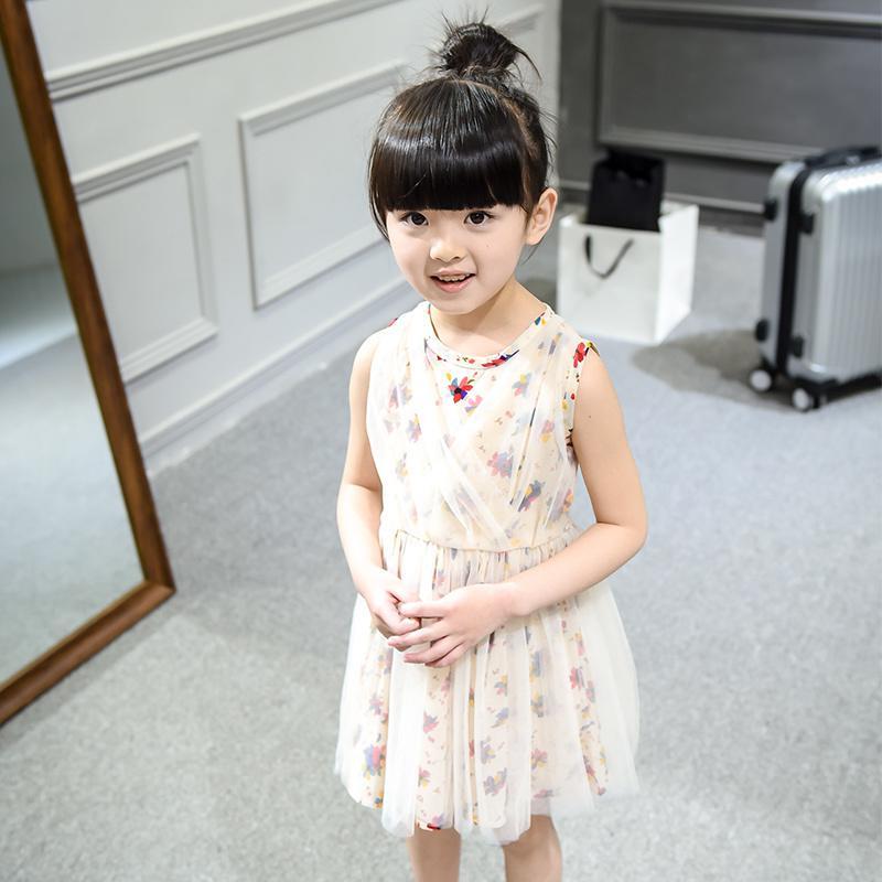 童裝女童連衣裙夏季2016新款網紗純棉碎花群 兒童公主裙