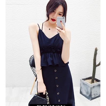 2017夏季新款女裝韓版時尚修身顯瘦兩件套長裙露肩吊帶連衣裙女夏