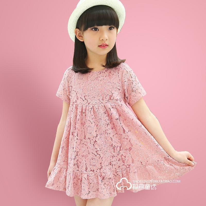 女童蕾絲短袖連衣裙夏季韓版時尚兒童小女孩純棉衣服寶寶公主裙子