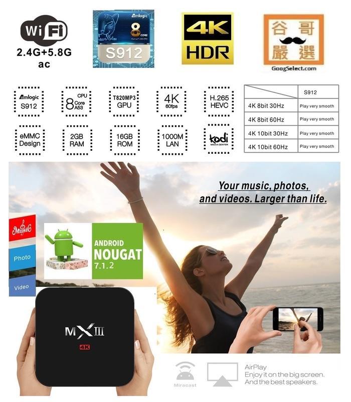 免破解 免月租八核64位元 4K網路電視盒推薦 最新版MXIII  S912 直播 追劇 影視  機上盒16G
