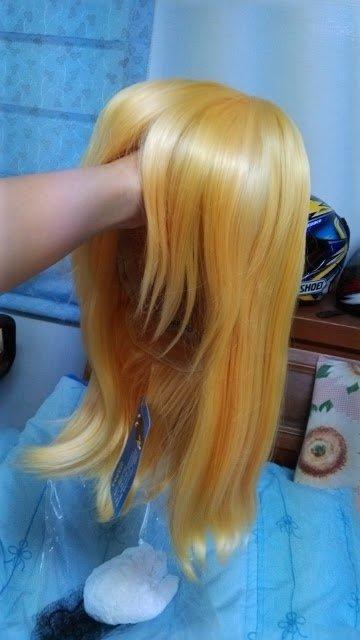 〔二手全新現貨〕全新COSER蜜芯圈奶金色中長直假髮/約40cm/萬用款多角可用/cosplay