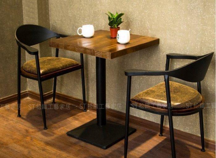 【松鐵工藝家居】#開店必備# 鐵藝實木桌咖啡廳西餐廳茶餐廳桌椅甜品店 餐廳咖啡廳