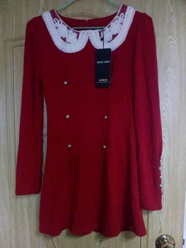 珍珠領 排扣 紅色 洋裝 特價 150含運