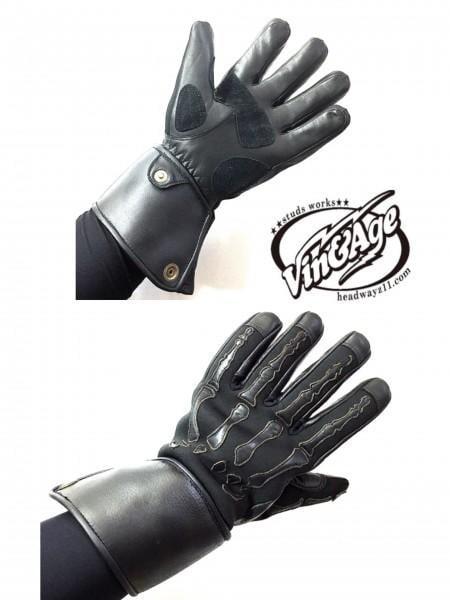 《美式工廠》日本 vin&age 手骨 skull 牛皮手套 黑 VGW20  哈雷  加厚冬季 3M保暖 防寒防水防風