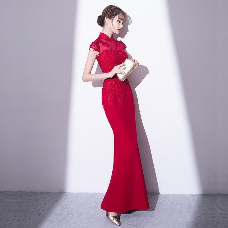 紅色敬酒服2017新款秋季結婚性感魚尾旗袍裙新娘晚禮服女長款修身