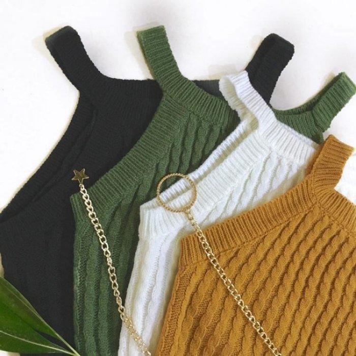 韓版高腰露臍短款針織吊帶打底衫上衣百搭修身外穿背心女學生
