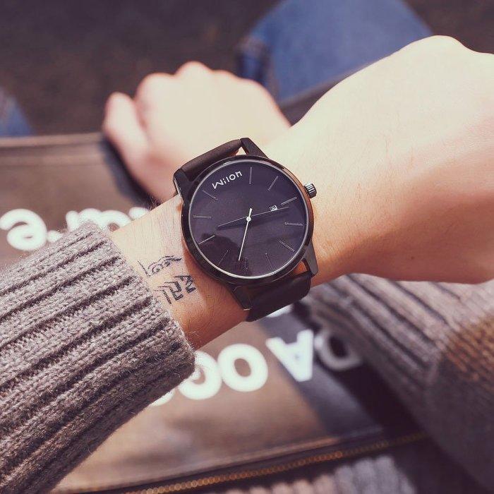 時尚潮手錶男學生正韓簡約休閒男士手錶大錶盤防水石英錶日歷皮帶