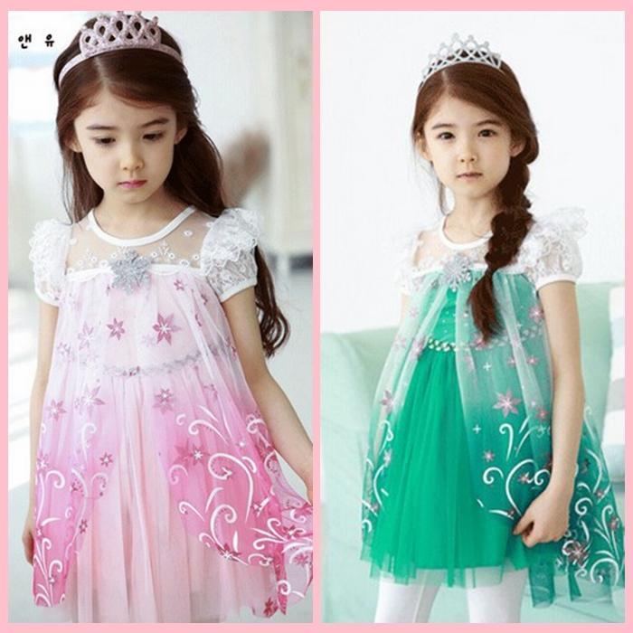 夏季冰雪奇緣純棉女童公主裙艾莎蕾絲全棉短袖連衣裙花仙子兒童裙