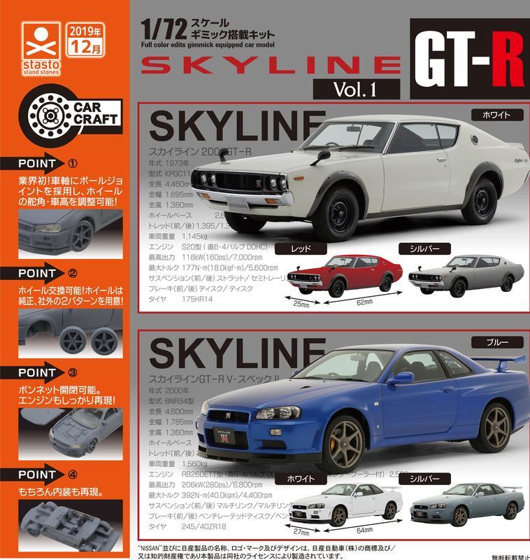 全新現貨 STASTO 日產 SKYLINE GT-R V-SPEC Standstones 一套6款  超商付款免訂金