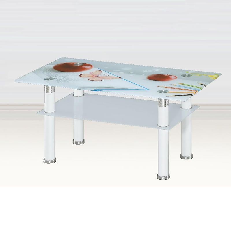 【在地人傢俱】20 Z便宜購-X-3繽紛白色3尺蘋果玻璃大茶几 ZSH236-4