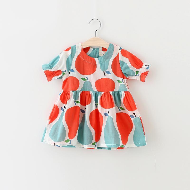 米寶寶2016夏季新款 兒童全棉韓版連衣裙 女童花朵印花短袖字裙