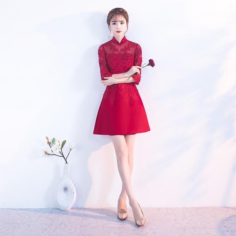 敬酒服新娘短款2017結婚新款秋冬長袖紅色中國風旗袍晚禮服女長款