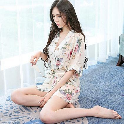 318百貨-碎花雪紡透視浴袍情趣內衣制服誘惑性感睡裙和服S13