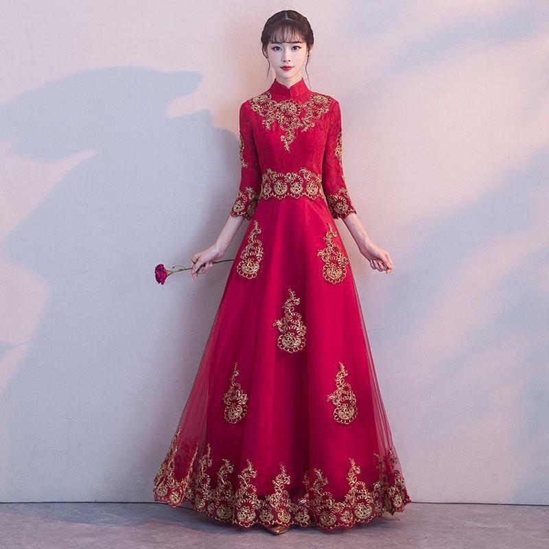 中式敬酒服女2017新款紅色結婚長袖新娘禮服冬季婚禮長款修身顯瘦