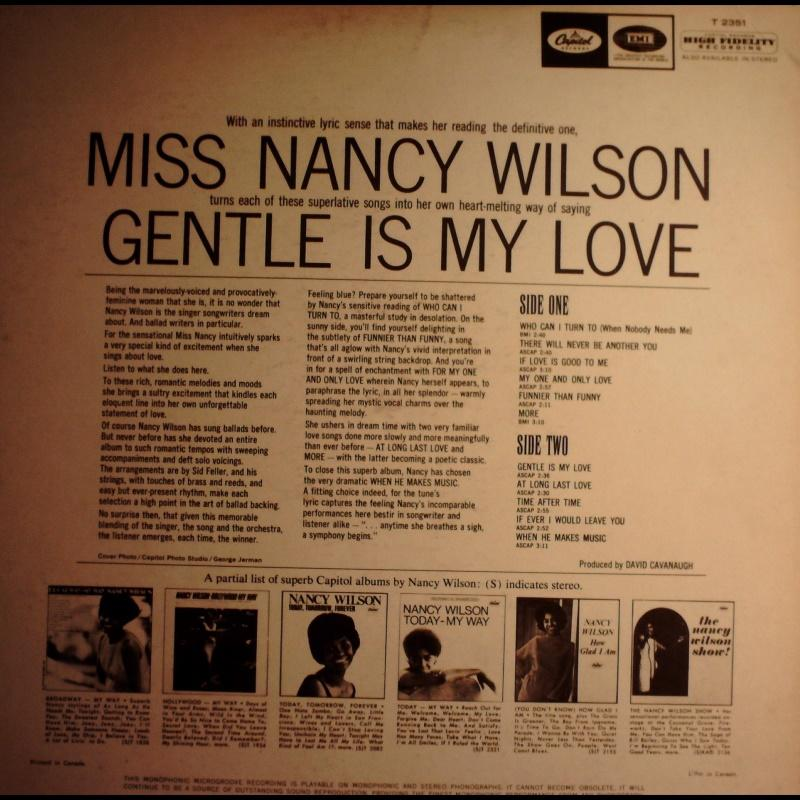 爵士-Capitol/T 2351/Nancy Wilson-南茜威爾森(葛萊美*3): Gentle Is My L