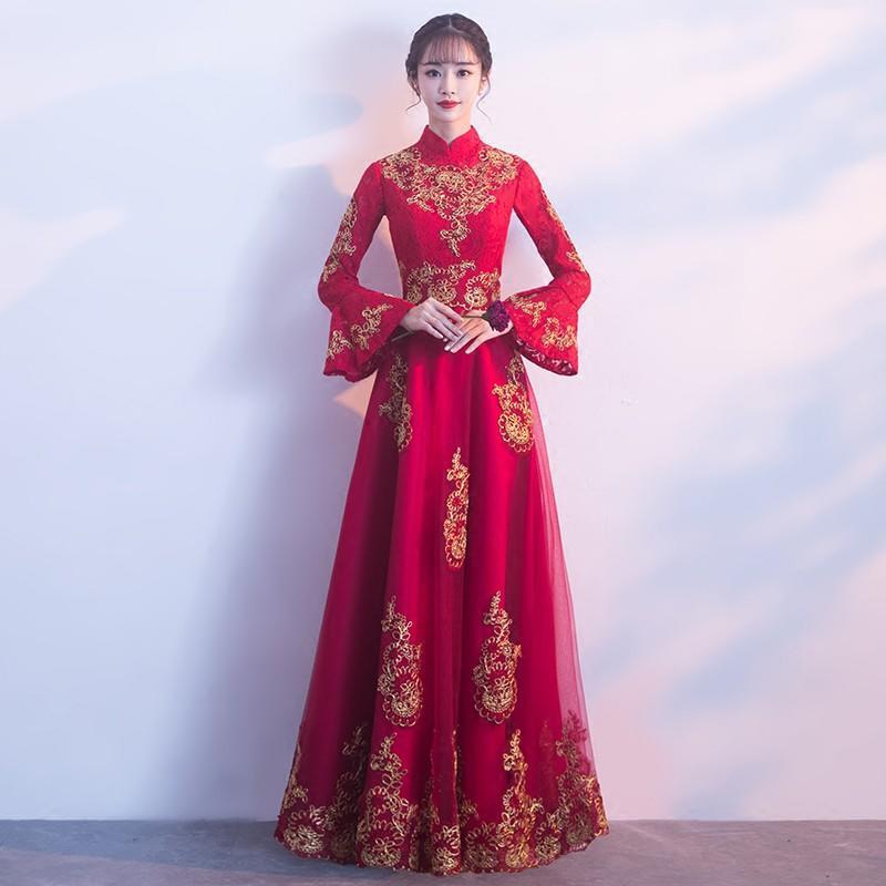新娘中式敬酒服2017新款冬季長袖紅色晚禮服女中國風結婚修身長款