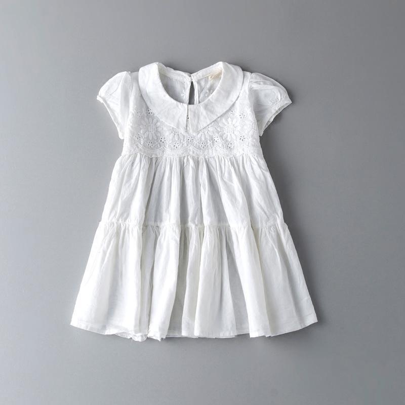 2016夏季女童韓版純棉連衣裙兒童白色短袖公主裙中大童短款娃娃衫