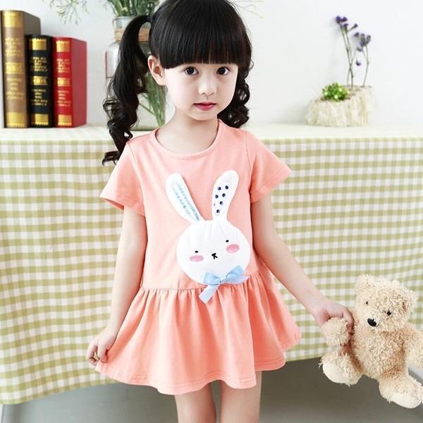 2016夏季韓版新款純棉兔子闊擺短袖女童連衣裙兒童裙特價