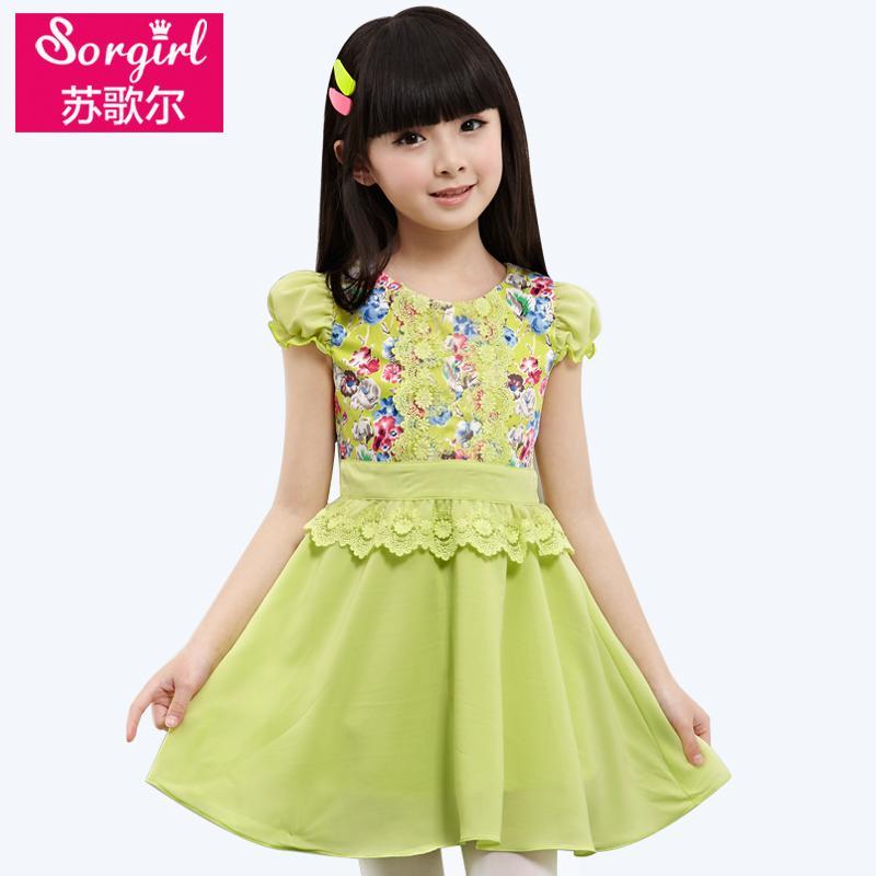 女童夏裝連衣裙小孩女孩大童純棉裙子5-6-7-10-12-15歲13夏季短袖