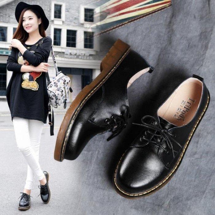 牛津低筒英倫風馬丁鞋靴女鞋學院風鞋子 【米娜小鋪】