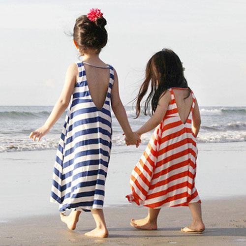 2016夏季新款韓國女童裝中大童條紋沙灘裙純棉露背連衣裙兒童長裙