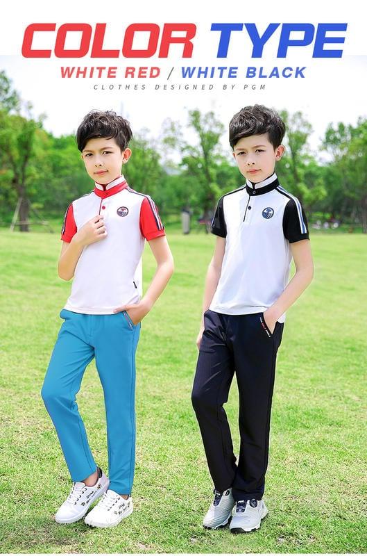 golf 高爾夫衣服 兒童青少年夏季透氣面料立領短袖 親子裝YF197