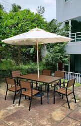 【加百列庭園休閒傢俱】160CM鋁合金塑木長方桌+塑木一桌六椅組+9尺玻纖傘+16KG傘座~7-11塑合木桌椅~戶外休閒