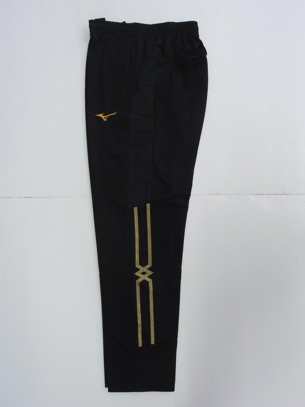 2021 下半季 MIZUNO 美津濃 男 抗紫外線.合身版 針織運動長褲 (32TD153399)黑x金
