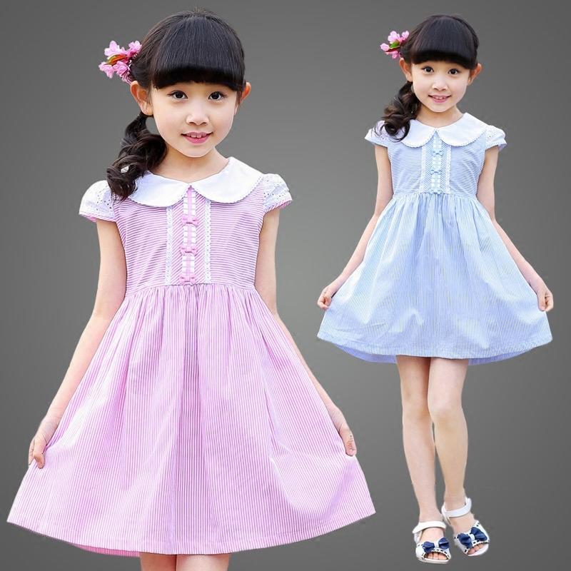 女童裝連衣裙夏季2016新款韓版純棉娃娃領條紋裙子兒童公主裙夏裝