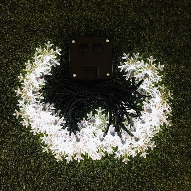 ☀️傑能科技☀️太陽能雪花燈串 節慶 婚禮裝飾 婚禮小物 戶外防雨燈串 雪花 裝飾燈 聖誕節 耶誕節 庭園燈 C-13
