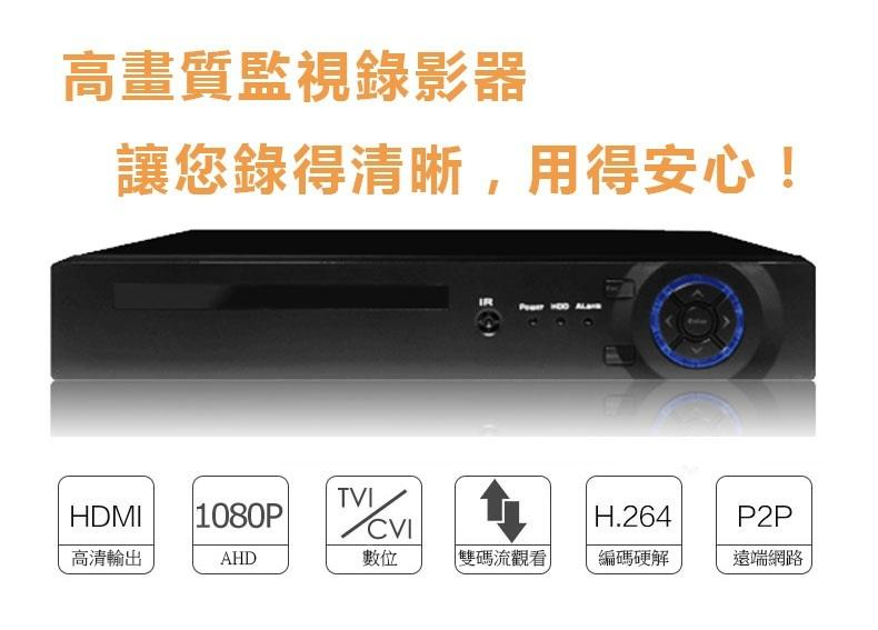 (專打960H、1080N)真1080P FHD AHD+DVR+NVR 監控主機 高清 聯網 APP HDMI VGA