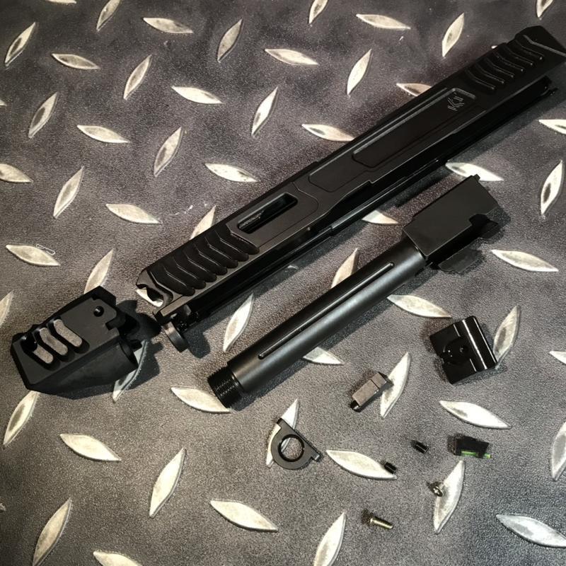 [ A-ONE ]生存遊戲專賣 SAT GLOCK LKT G17 鋼滑套 鈦色板 瓦斯手槍 警星規格 謎版