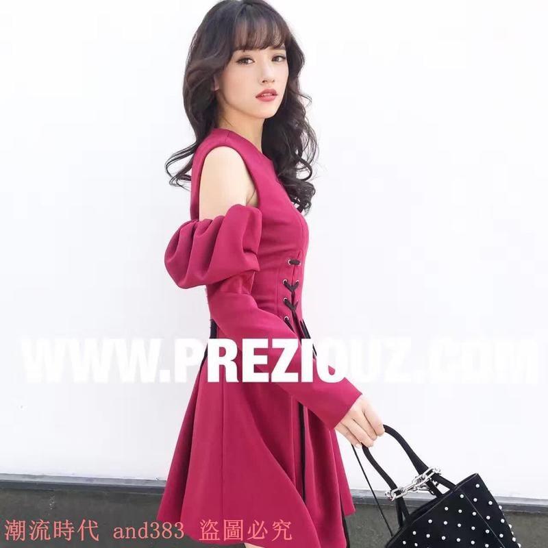 2017秋 名媛可性感泡泡袖露肩長袖顯瘦修身收腰綁帶抽繩衣裙