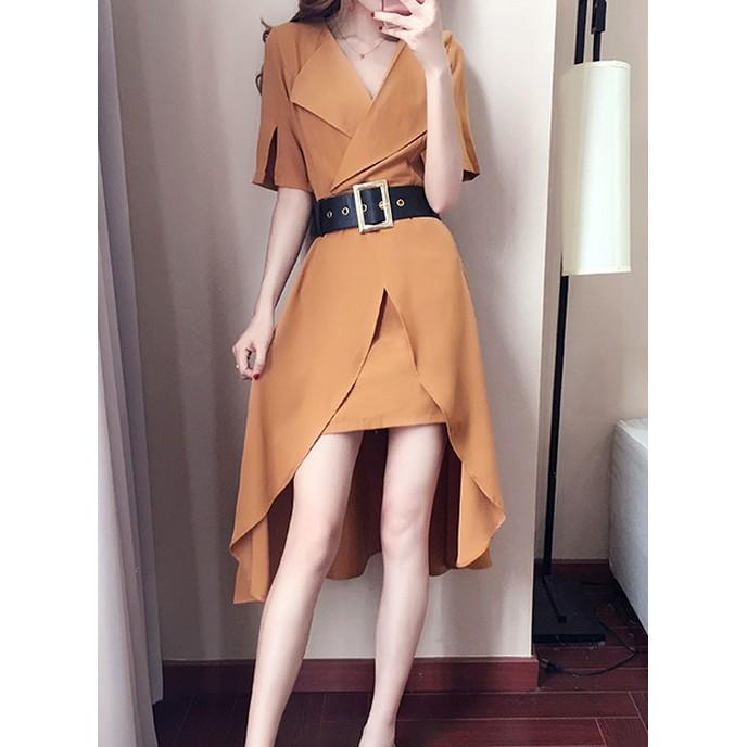 2017新款韓版氣質顯瘦收腰藏肉裙子高腰遮肚子黃色雪紡連衣裙女夏