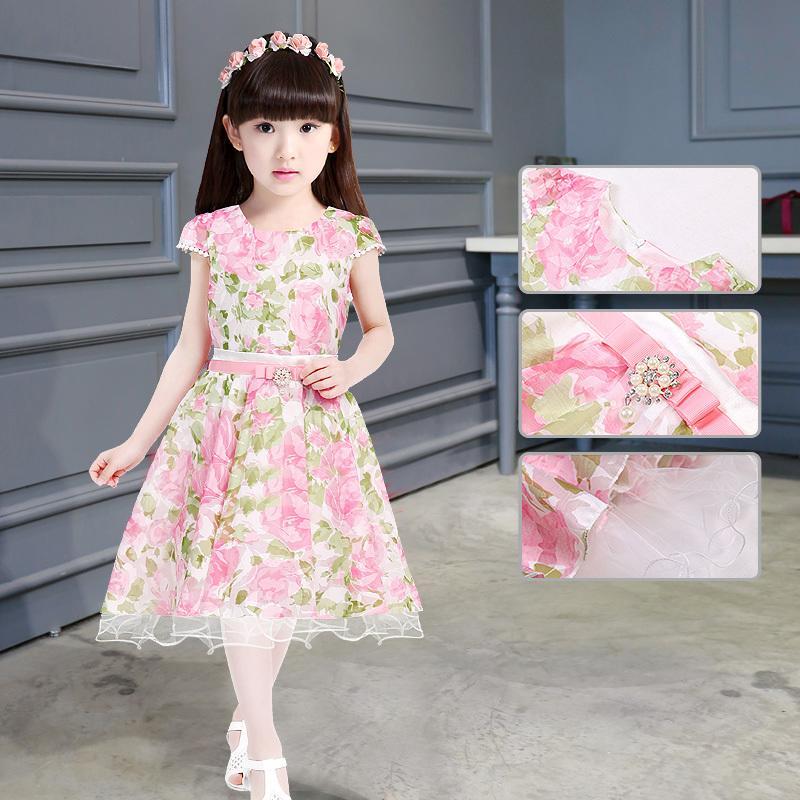 童裝2016新款夏裝女童碎花短袖連衣裙夏季中大童兒童公主裙子韓版