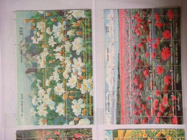 泰國2000年花卉紀念郵票 套票4張小版張--新票4張一組 如圖示,保存良好,物超所值!
