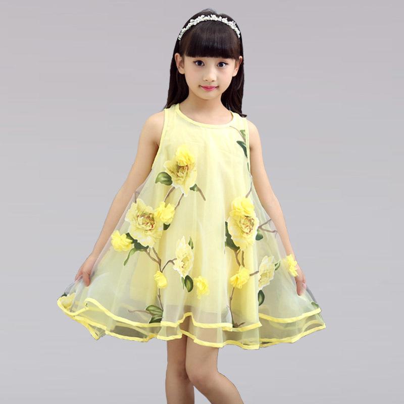 童裝女童夏季連衣裙2016新款背心裙女寶寶無袖小公主中大童網紗裙