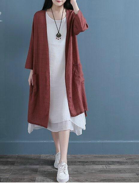 【荷湘田】夏裝--復古風防晒走線格子開前襟雙大口袋長版外套空調衫