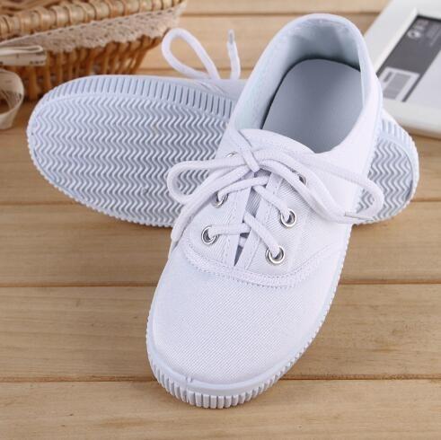 【可開發票】童鞋小白鞋兒童白色帆布鞋學校指定白布鞋男童白球鞋女童白運動鞋—聚優購物網